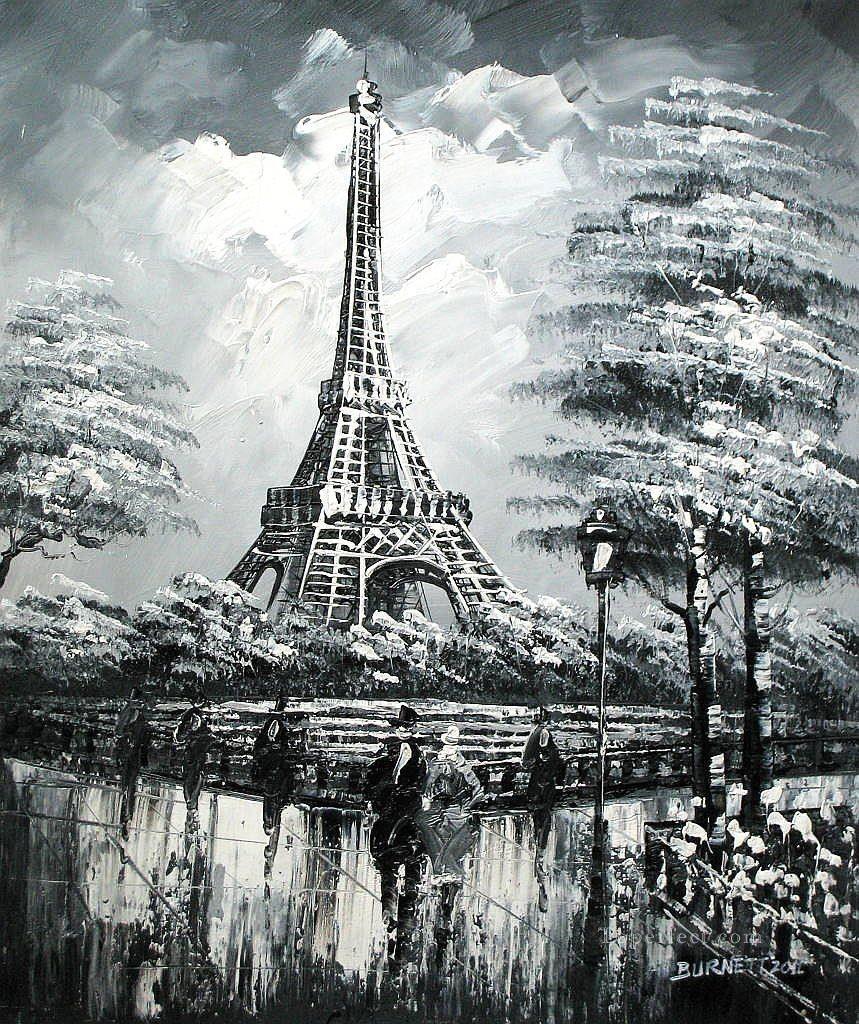 Street scenes in paris 42 black and white oil paintings