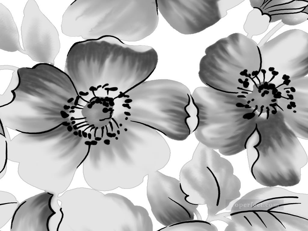 Xsh500 Black And White Flowers Painting In Oil For Sale
