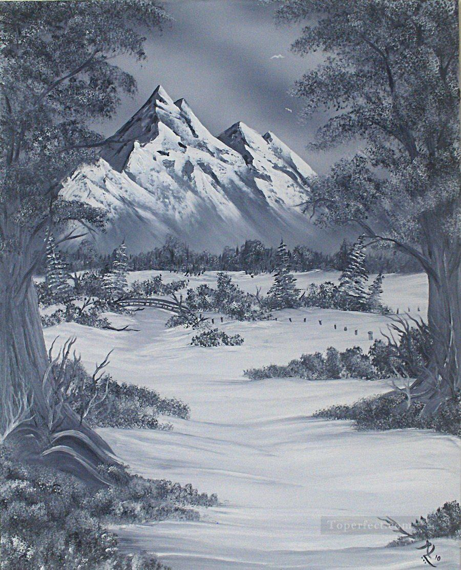 Black and white mountain land painting