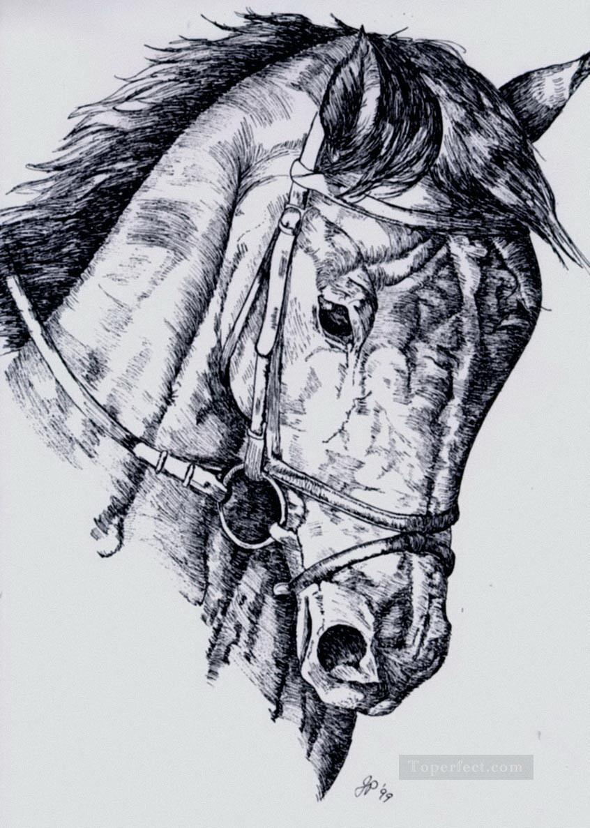 Horse Pencil Sketch Black And White Oil Paintings