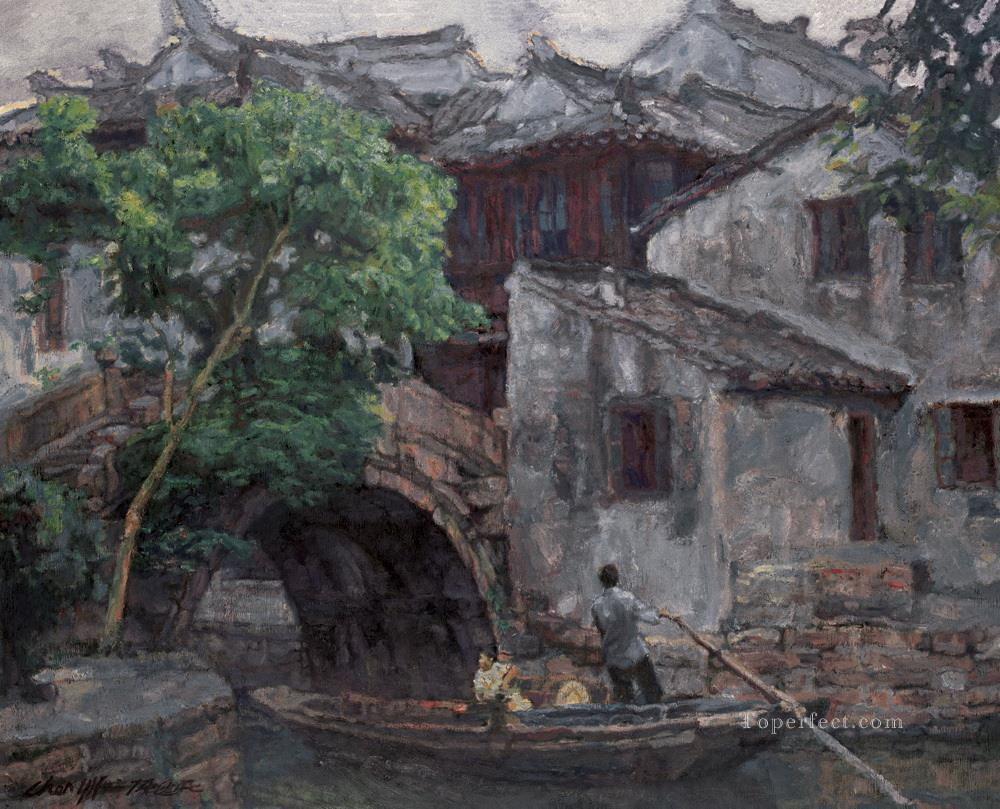 Southern Chinese Riverside Town 2002 Chinese Chen Yifei Oil Paintings