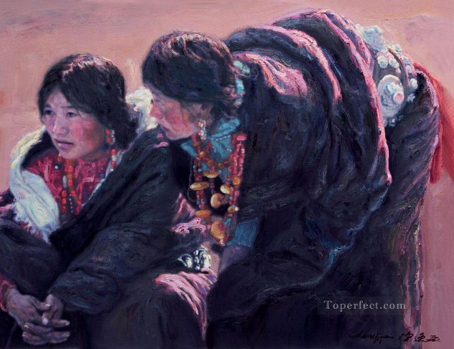 Tibetab Woman Chinese Chen Yifei Oil Paintings