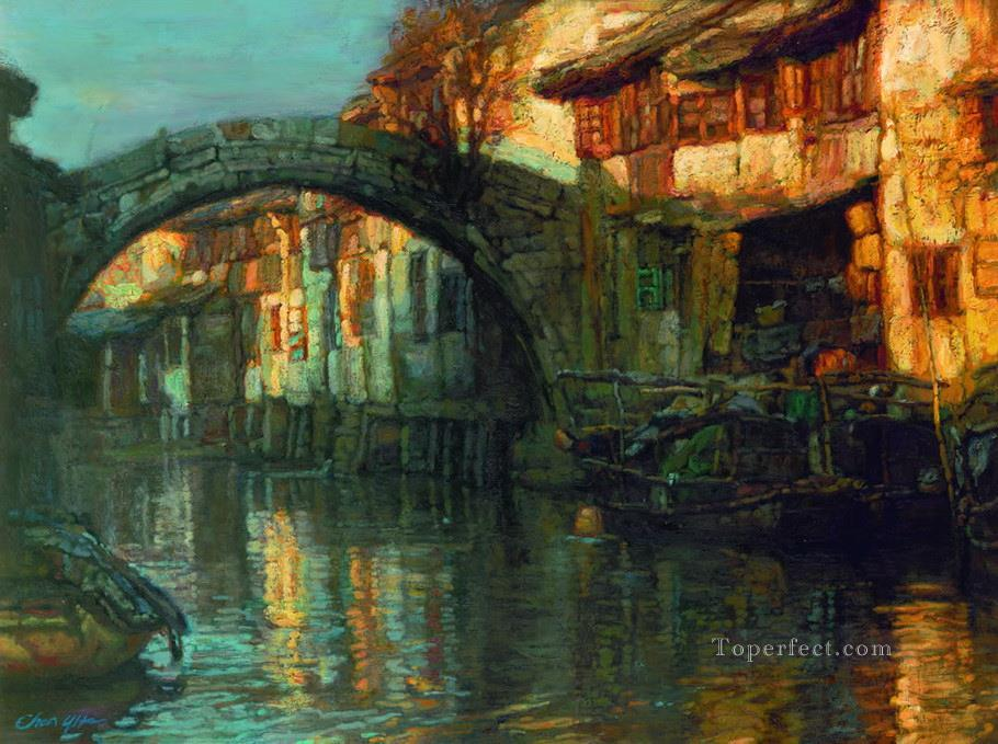 Water Towns Rhythm of Autumn Chinese Chen Yifei Oil Paintings