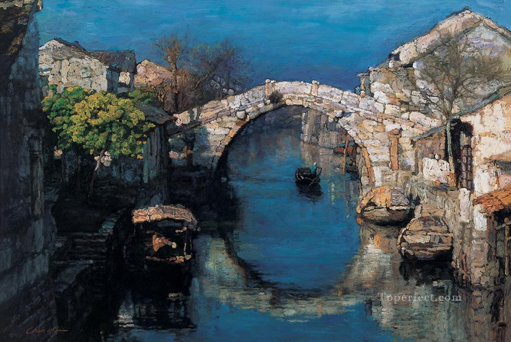 Zhouzhuang River Village Chinese Chen Yifei Oil Paintings