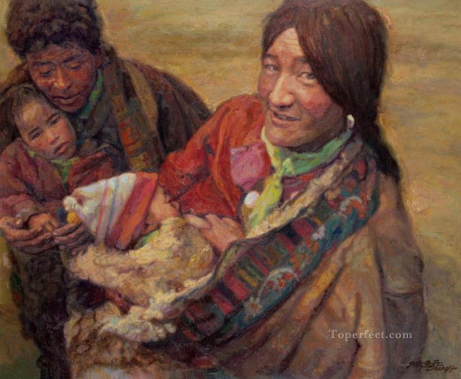 Happy Family Chinese Chen Yifei Oil Paintings