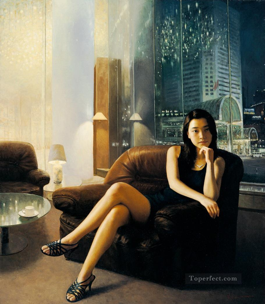 Dim Light Chinese Girls Oil Paintings