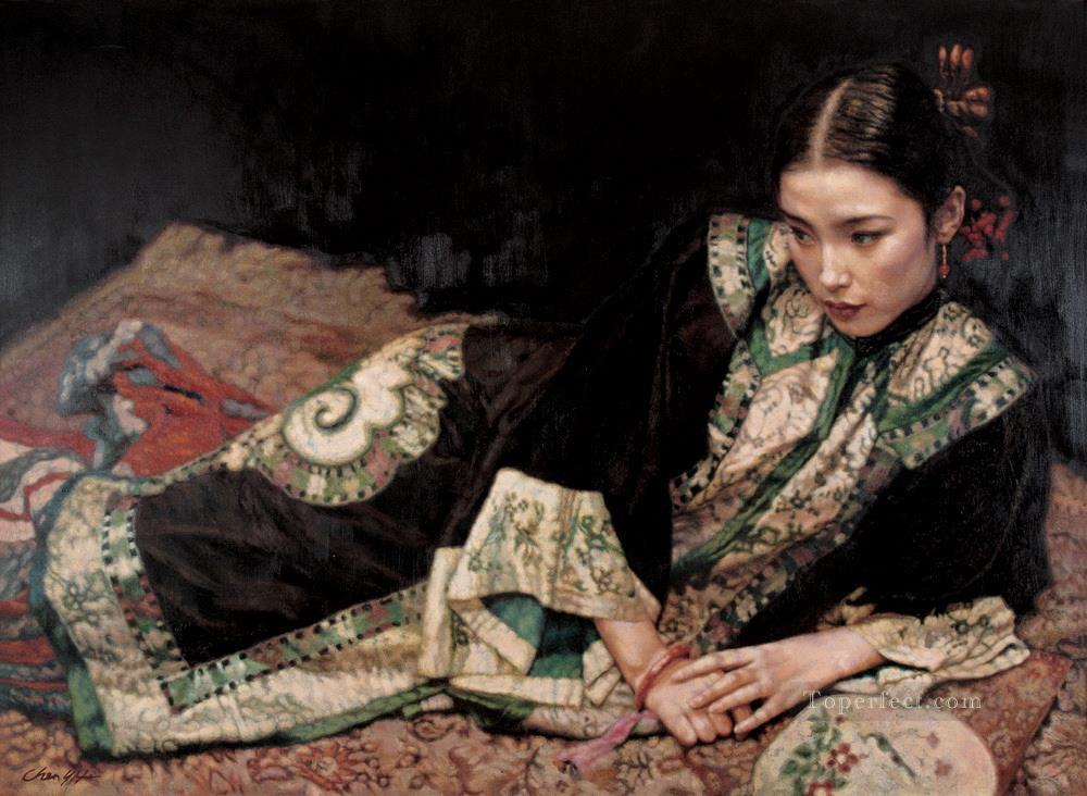 Lady on Carpet Chinese Chen Yifei Girl Oil Paintings