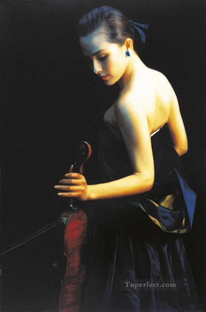 Night of Opening 1989 Chinese Chen Yifei Girl Oil Paintings