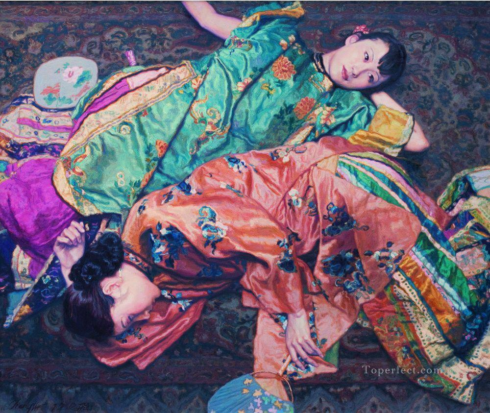 Autumn Dream Chinese Chen Yifei Girl Oil Paintings