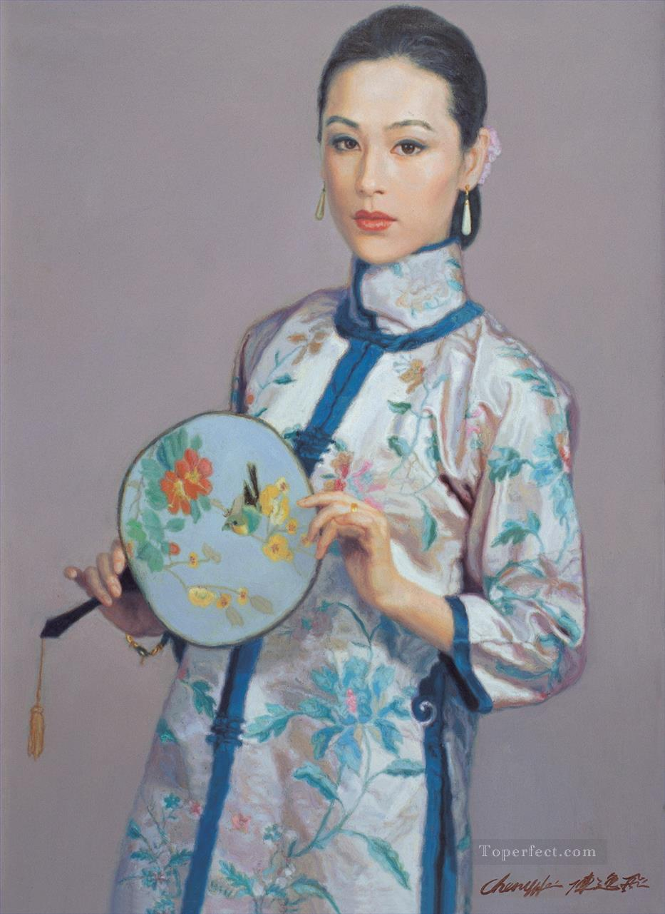Girl with Fan Chinese Chen Yifei Girl Oil Paintings