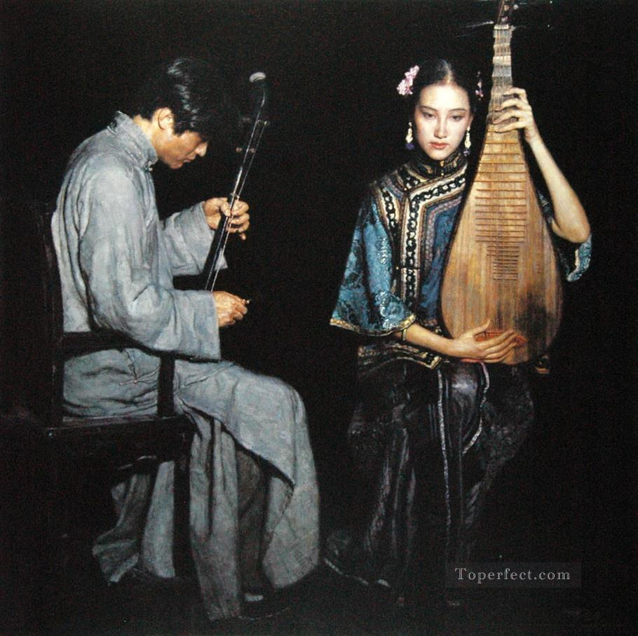 Love Song 1995 Chinese Chen Yifei Girl Oil Paintings