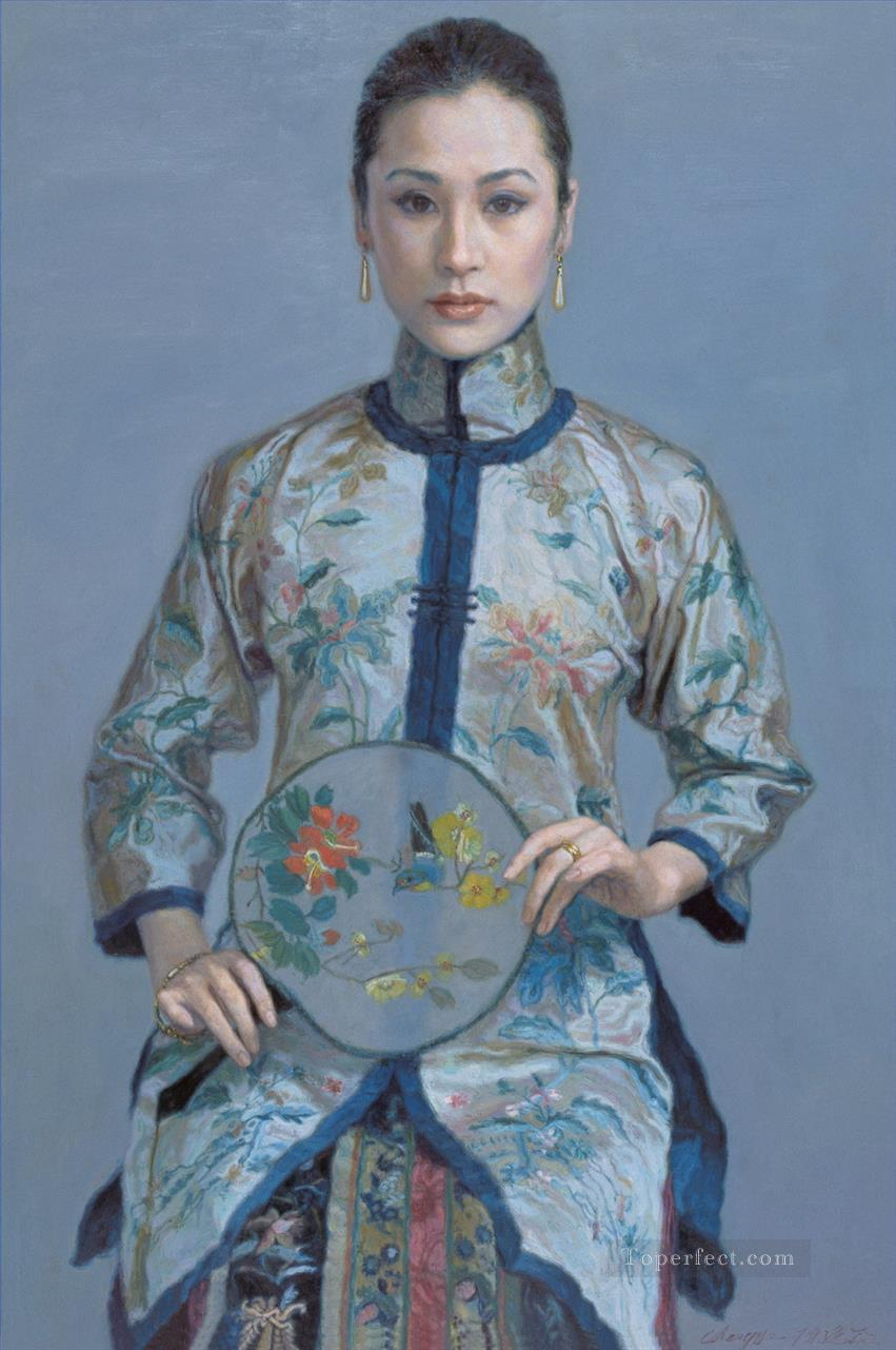 Woman with Fan Chinese Chen Yifei Girl Oil Paintings