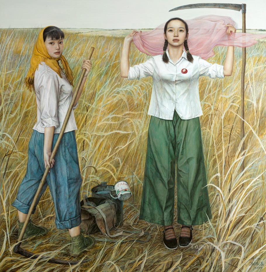 Grassland Chinese Girls Oil Paintings
