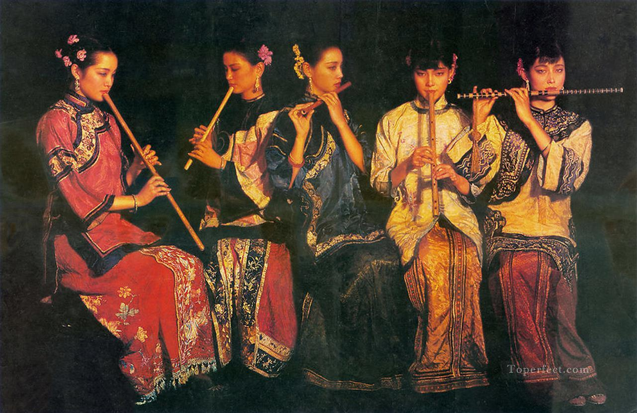 Banquet Chinese Chen Yifei Girl Oil Paintings