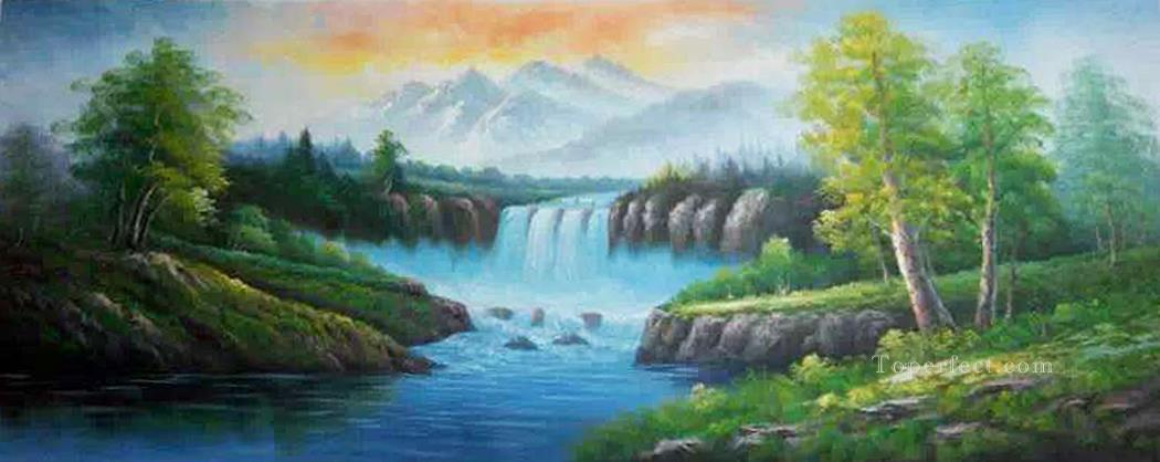 Waterfall In Summer Chinese Landscape Oil Paintings