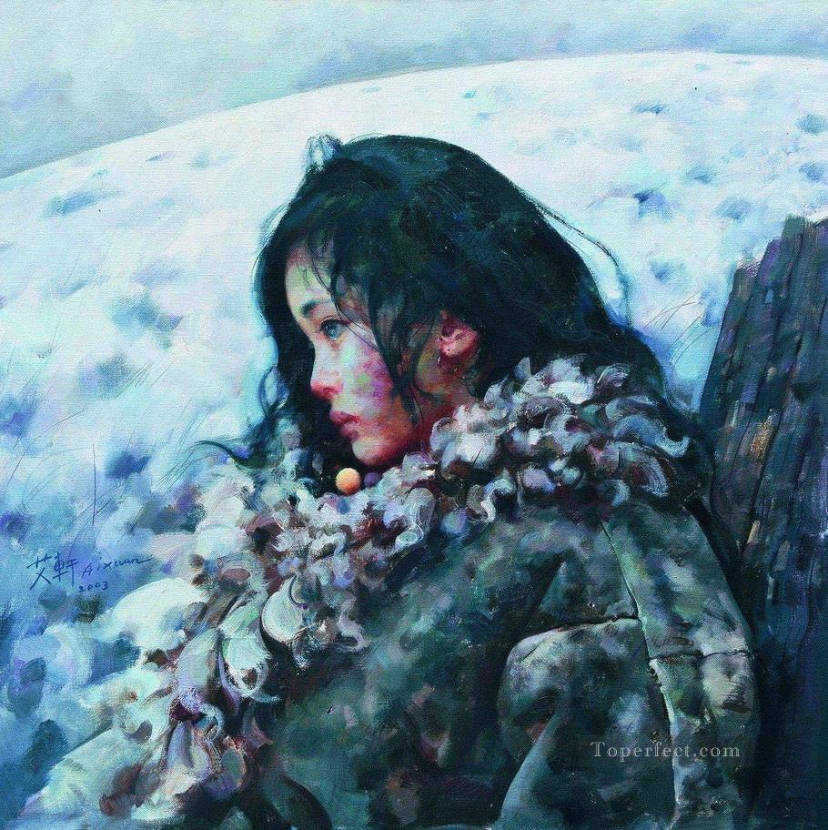 Snow was still falling quietly AX Tibet Oil Paintings