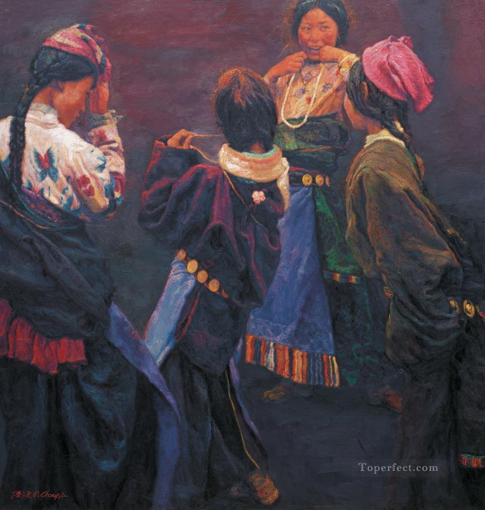 Tibetan Girl 2004 Chen Yifei Tibet Oil Paintings