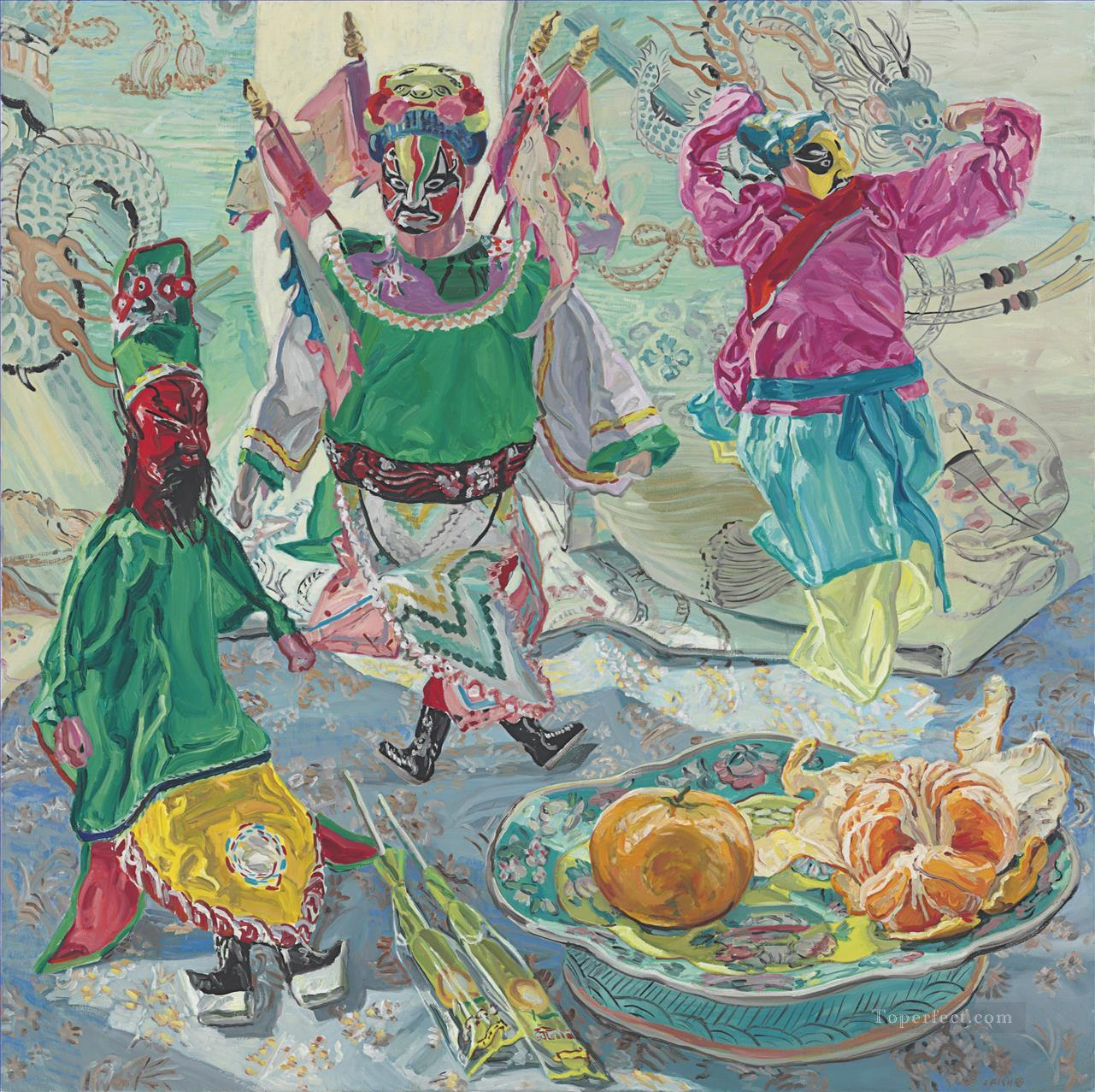 Chinese Puppets JF China Subjects Oil Paintings
