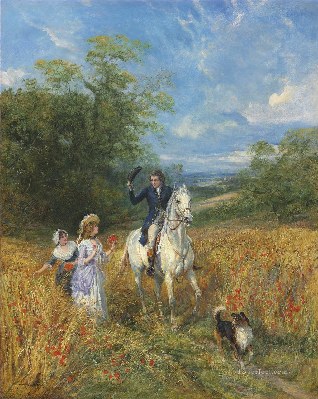 A passing greeting Heywood Hardy hunting Oil Paintings