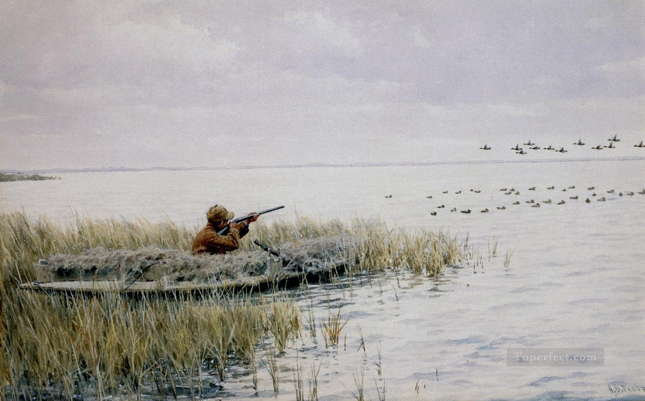 Arthur B Frost xx Duck Shooting from a Blind cynegetic Oil Paintings