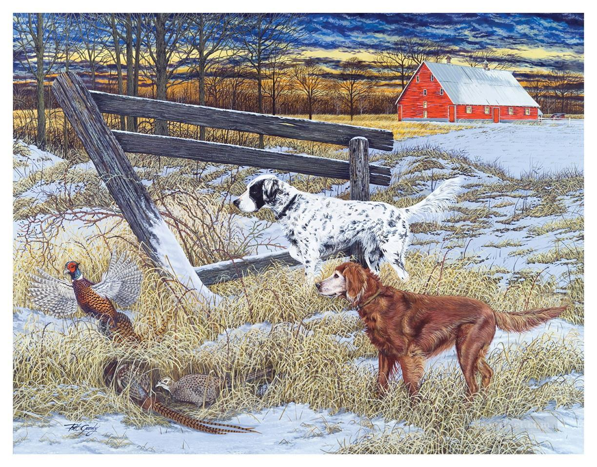 hounds and mallard in winter cynegetics Oil Paintings