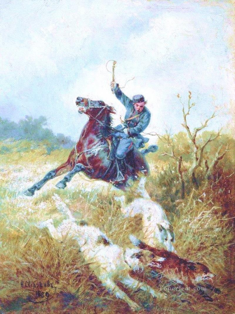 nikolai sverchkov hunting with borzois 1889 Oil Paintings
