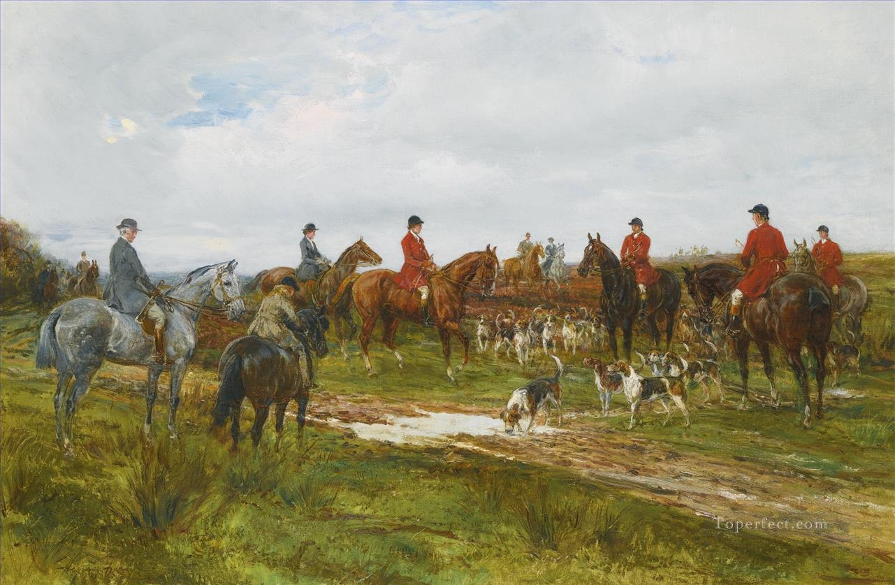 GATHERING FOR THE HUNT 2 Heywood Hardy hunting Oil Paintings