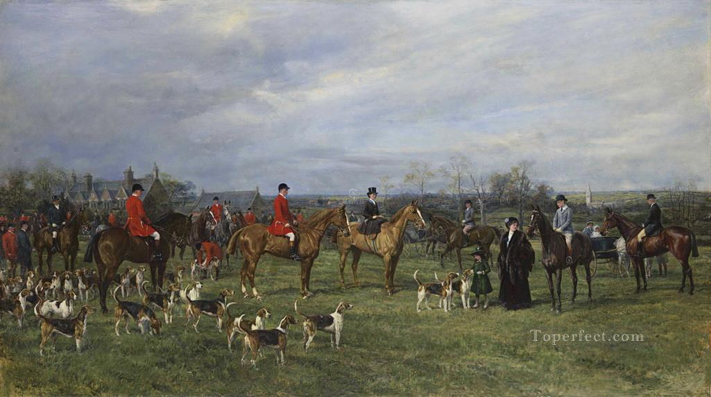 Meet of the Quorn Hounds at Kirby Gate Heywood Hardy hunting Oil Paintings