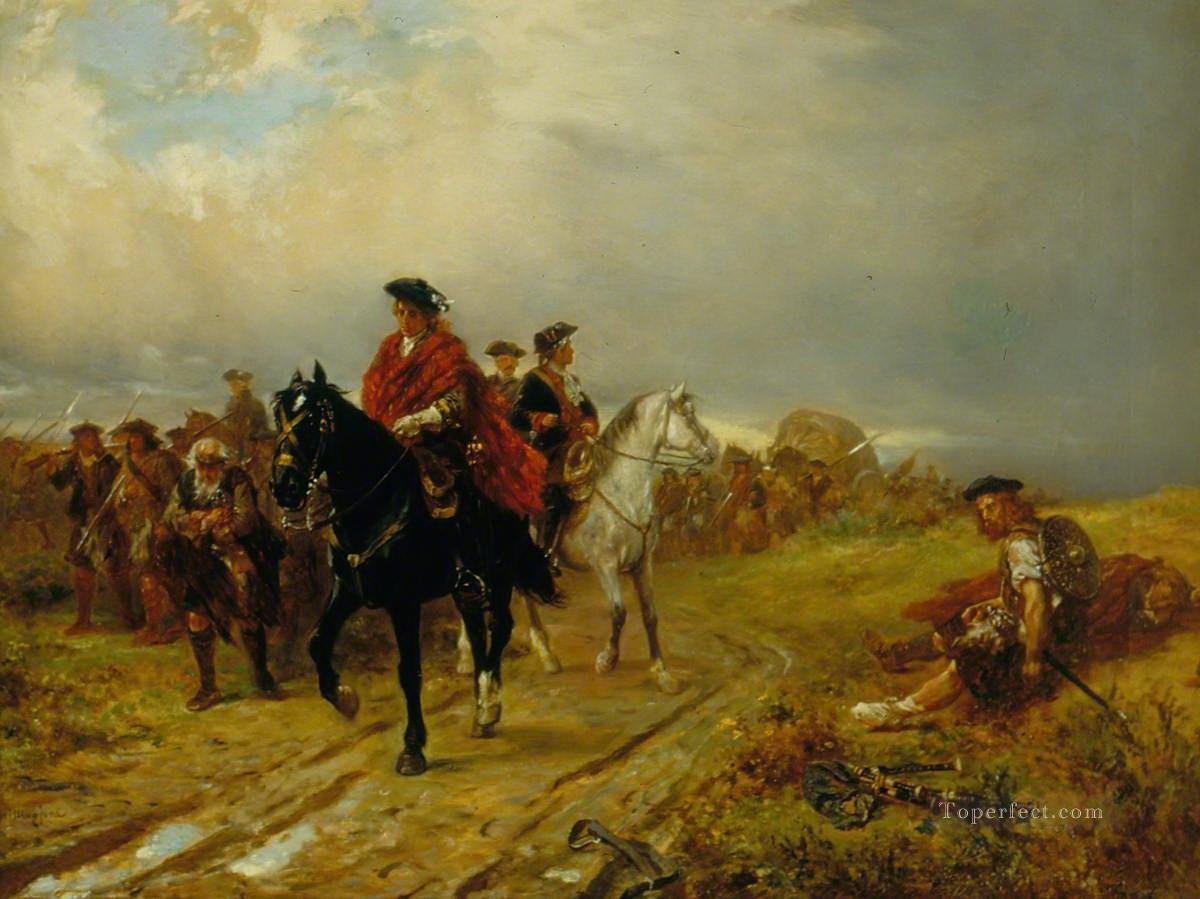 Highlanders on the March Robert Alexander Hillingford historical battle scenes Military War Oil Paintings