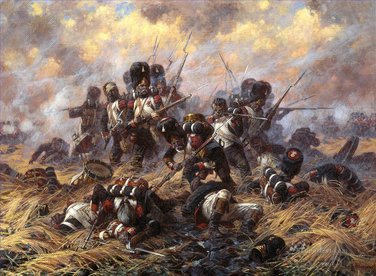 The Old Guard at the battle of Waterloo Yurievich Averyanov Military War Oil Paintings