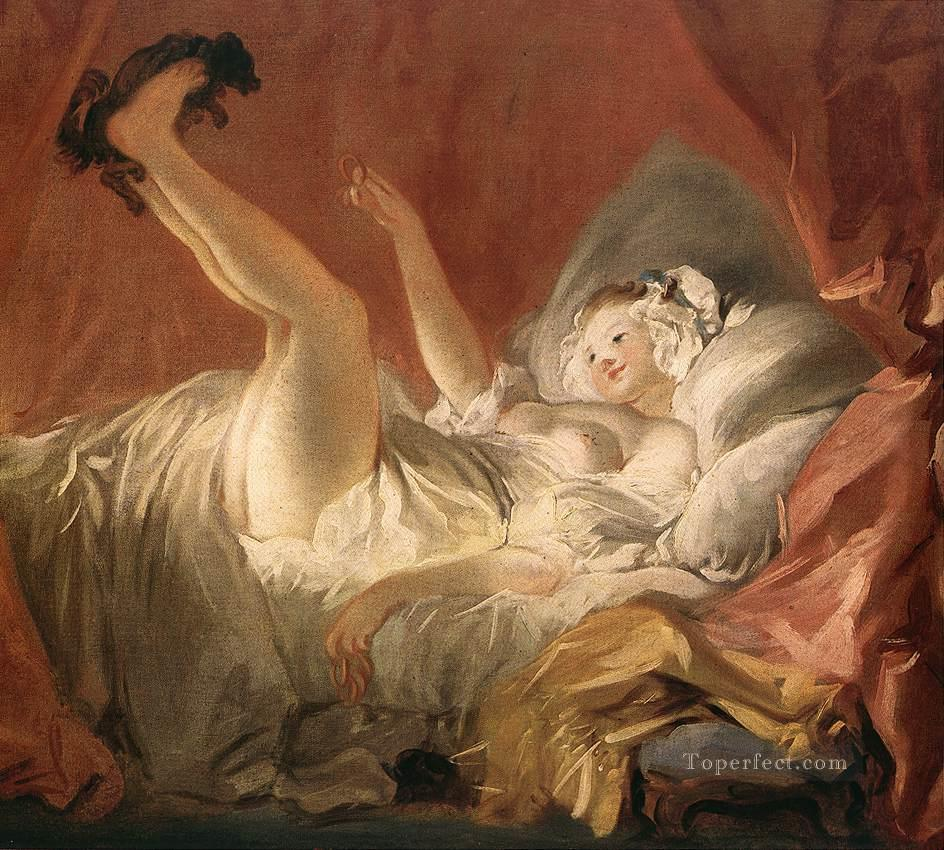 Young Woman Playing with a Dog Jean Honore Fragonard Rococo Oil Paintings