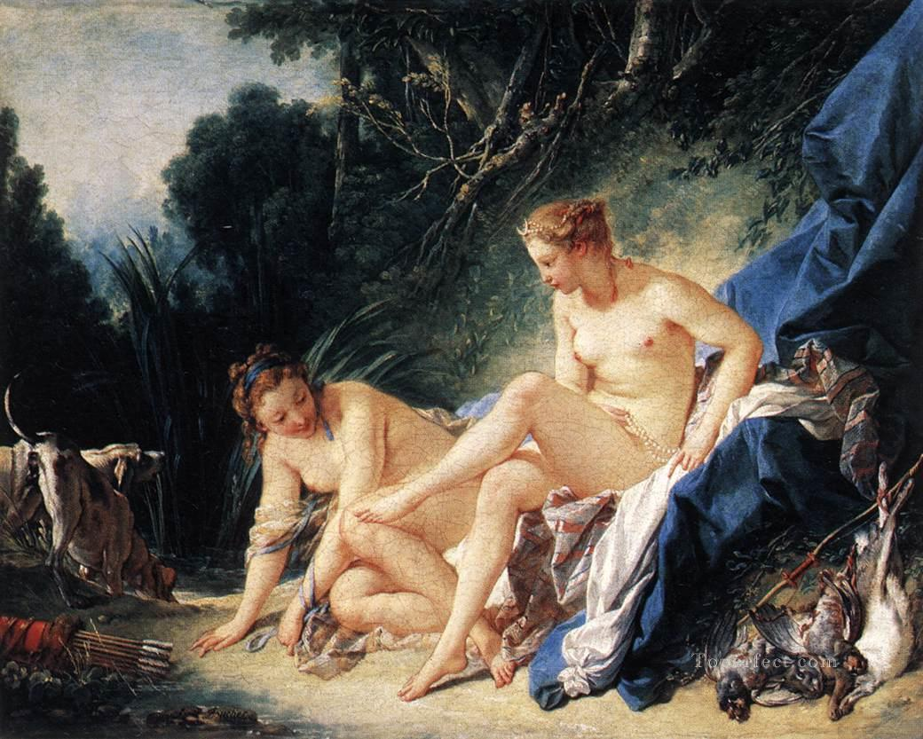 Diana resting after her Bath Francois Boucher classic Rococo Oil Paintings