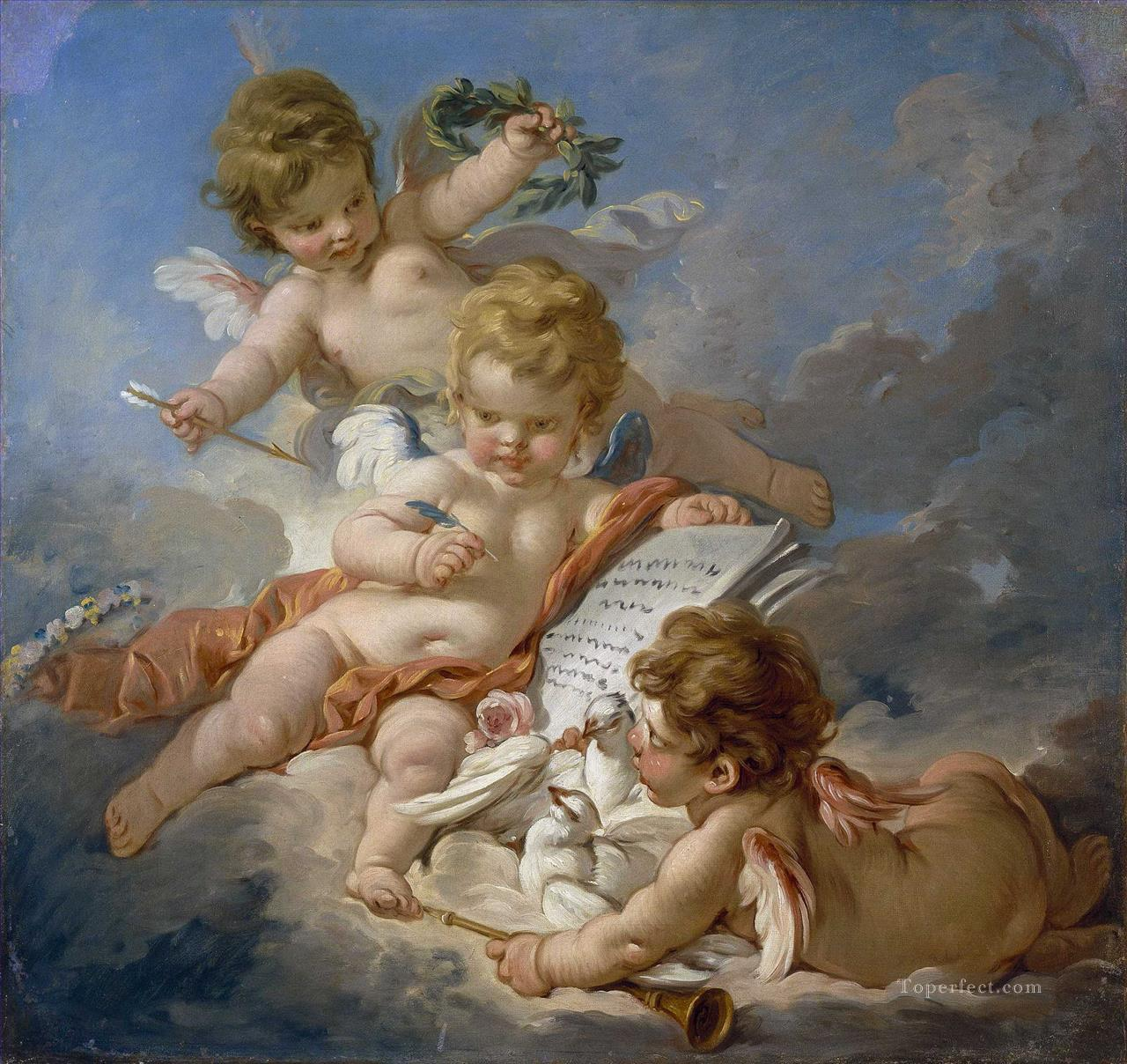 Cupids Allegory of Poetry Francois Boucher classic Rococo Oil Paintings