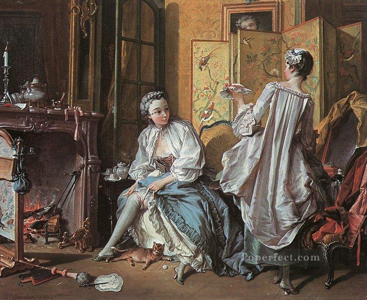 La Toilette Francois Boucher Classic Rococo Painting In Oil For Sale - Rococo painting