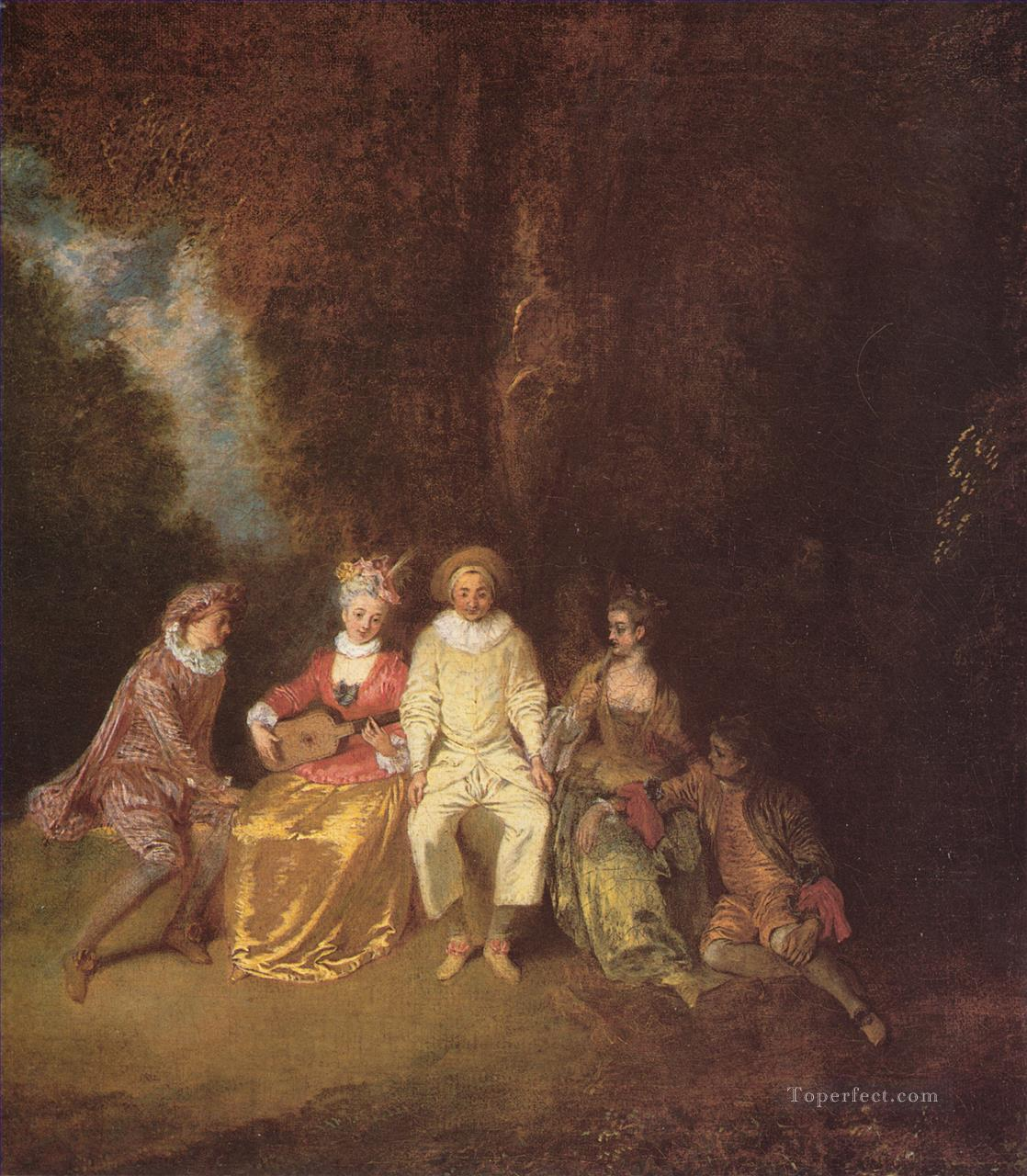 Pierrot content Jean Antoine Watteau classic Rococo Oil Paintings