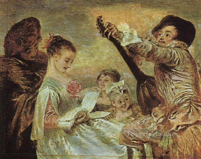 The Music Lesson Jean Antoine Watteau classic Rococo Oil Paintings