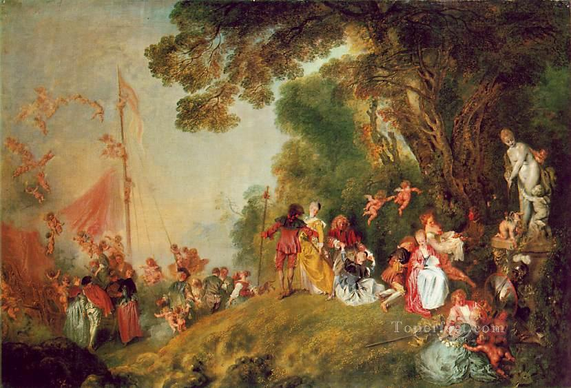 Pilgrimage to Cythera Jean Antoine Watteau classic Rococo Oil Paintings