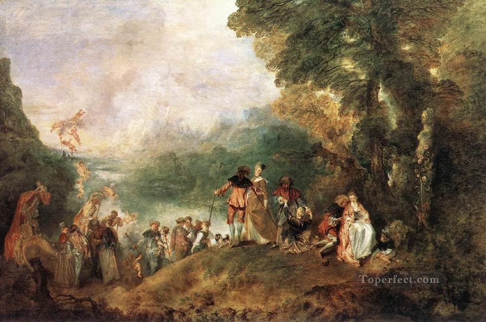 The Embarkation for Cythera Jean Antoine Watteau classic Rococo Oil Paintings