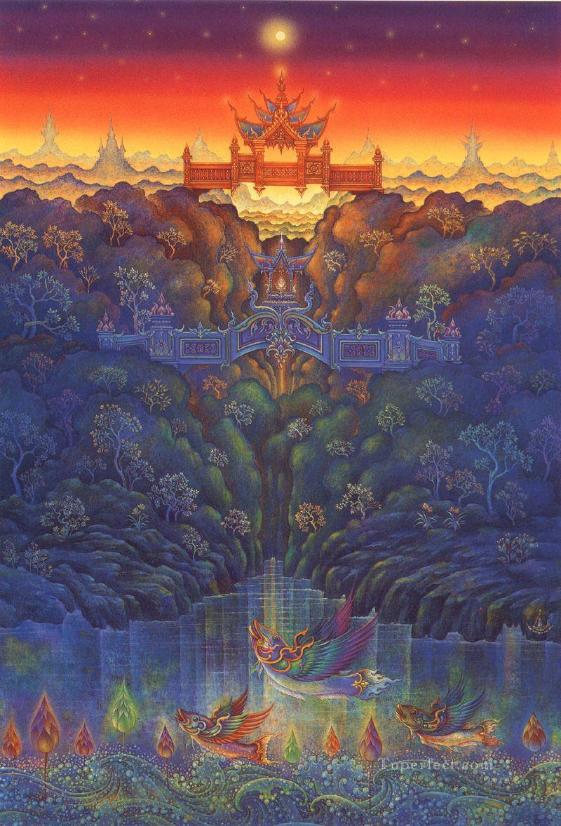 contemporary Buddhism heaven fantasy 003 CK Fairy Tales Oil Paintings