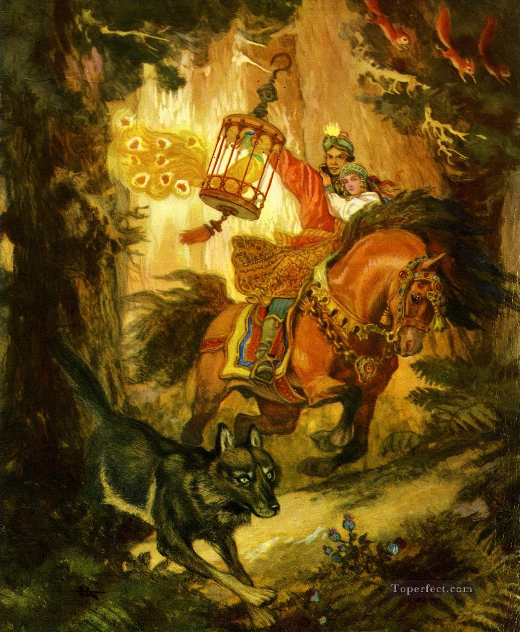 Russian tsarevich ivan and the grey wolf Fantastic Oil Paintings