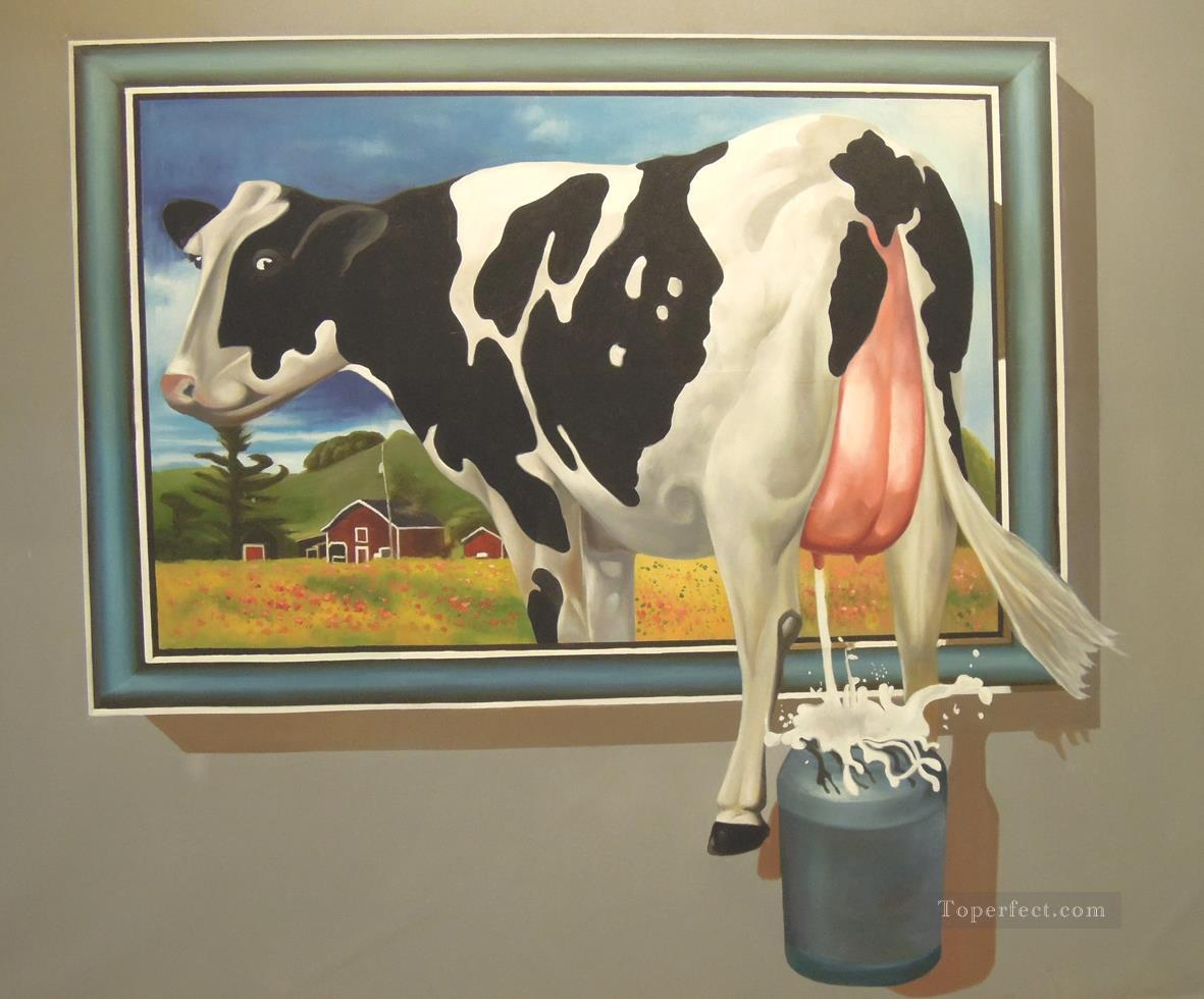 cow jump window magic 3D Oil Paintings