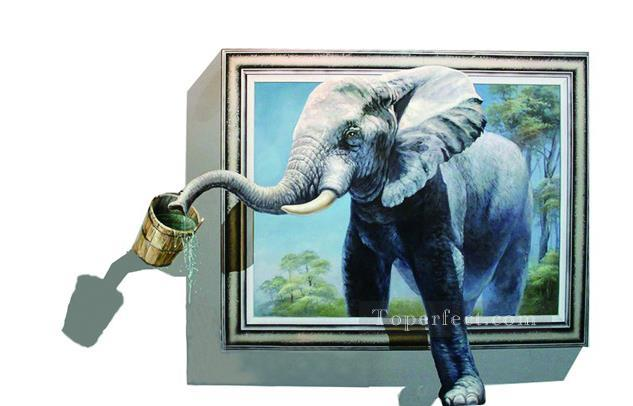 drinking elephant out of frame 3D Painting in Oil for Sale