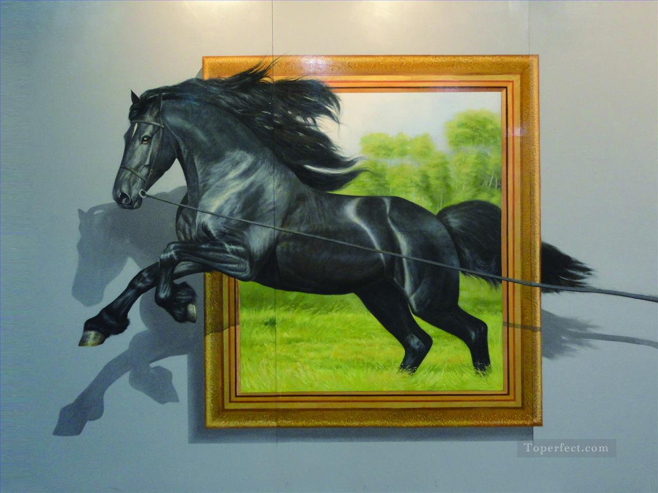 horse out of frame 3D Painting in Oil for Sale