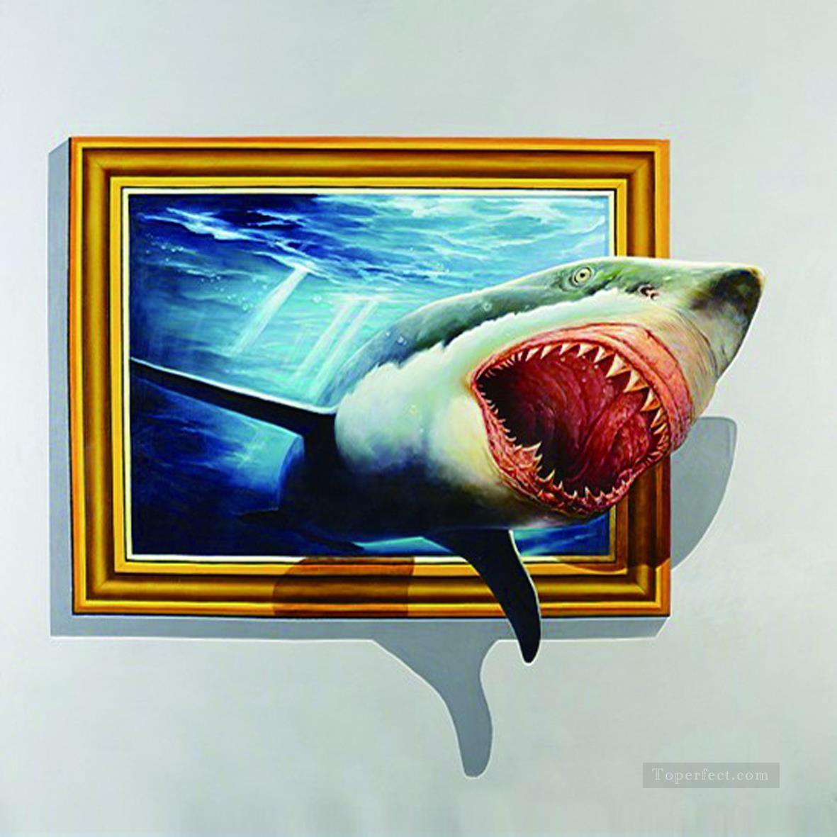 shark out of frame 3D Painting in Oil for Sale