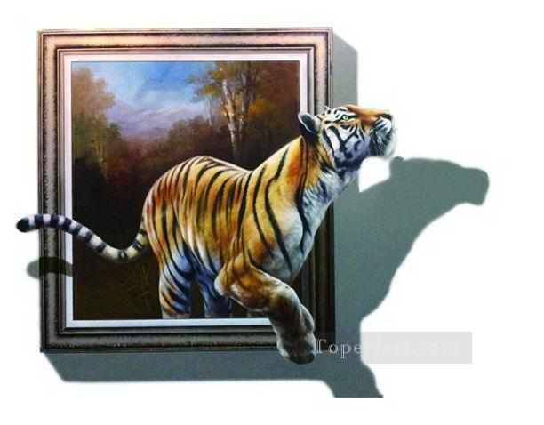 bf276ef7e42 tiger out of forest 3D Painting in Oil for Sale
