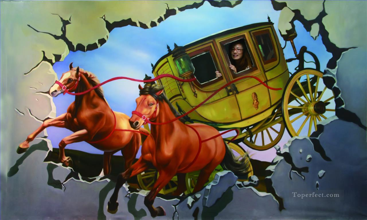 Chinese girl in carriage 3D Oil Paintings