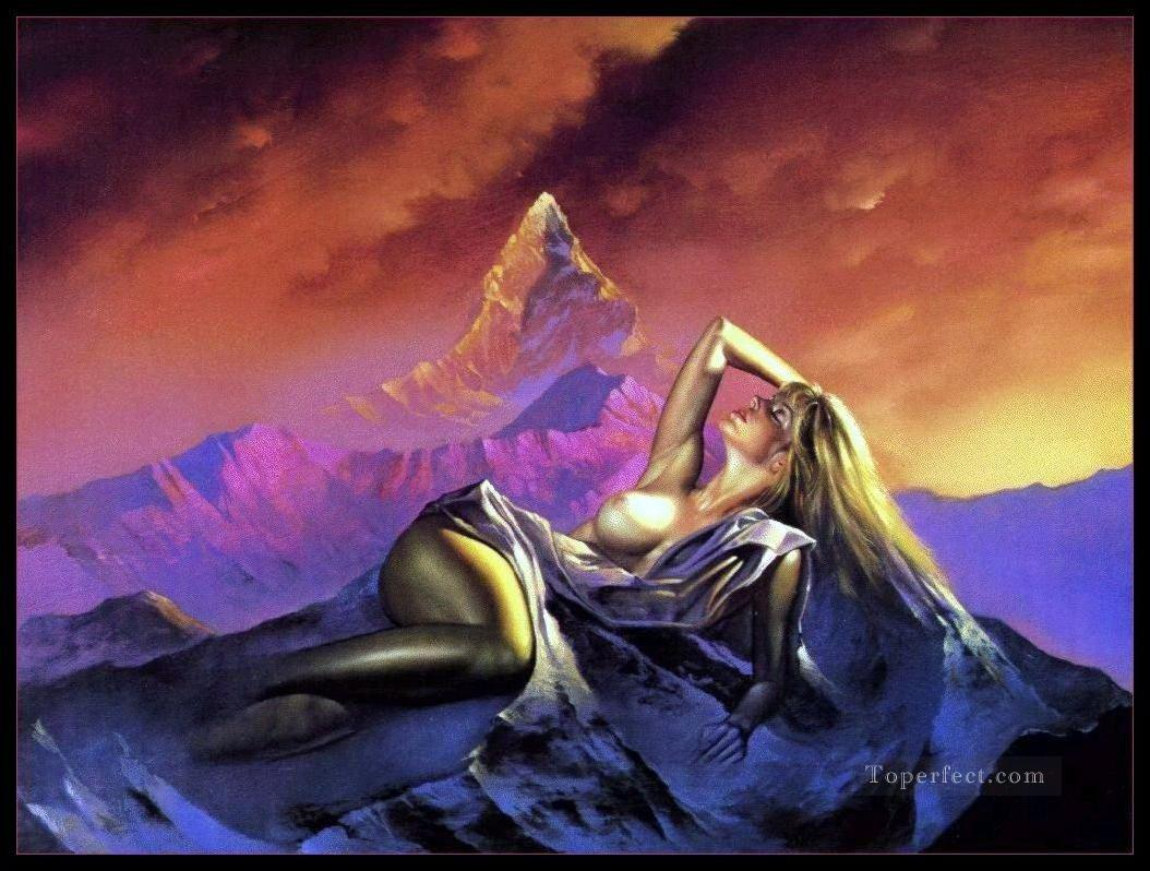Femme montagne Fantasy Oil Paintings
