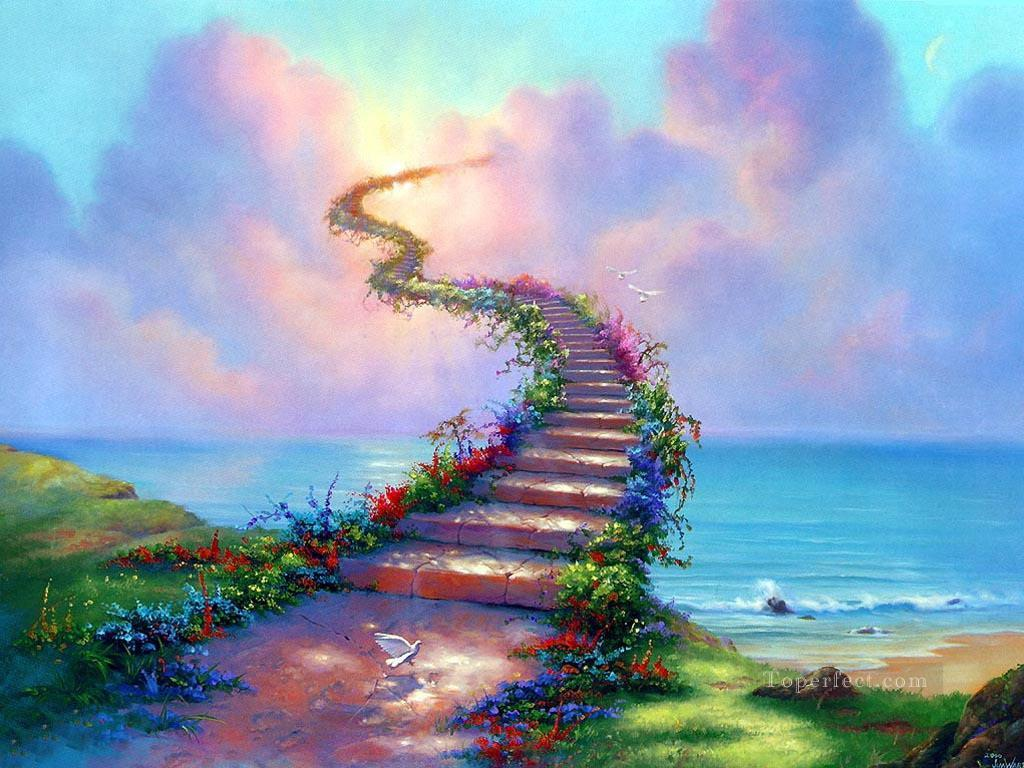 stairway to heaven fantasy painting in oil for sale