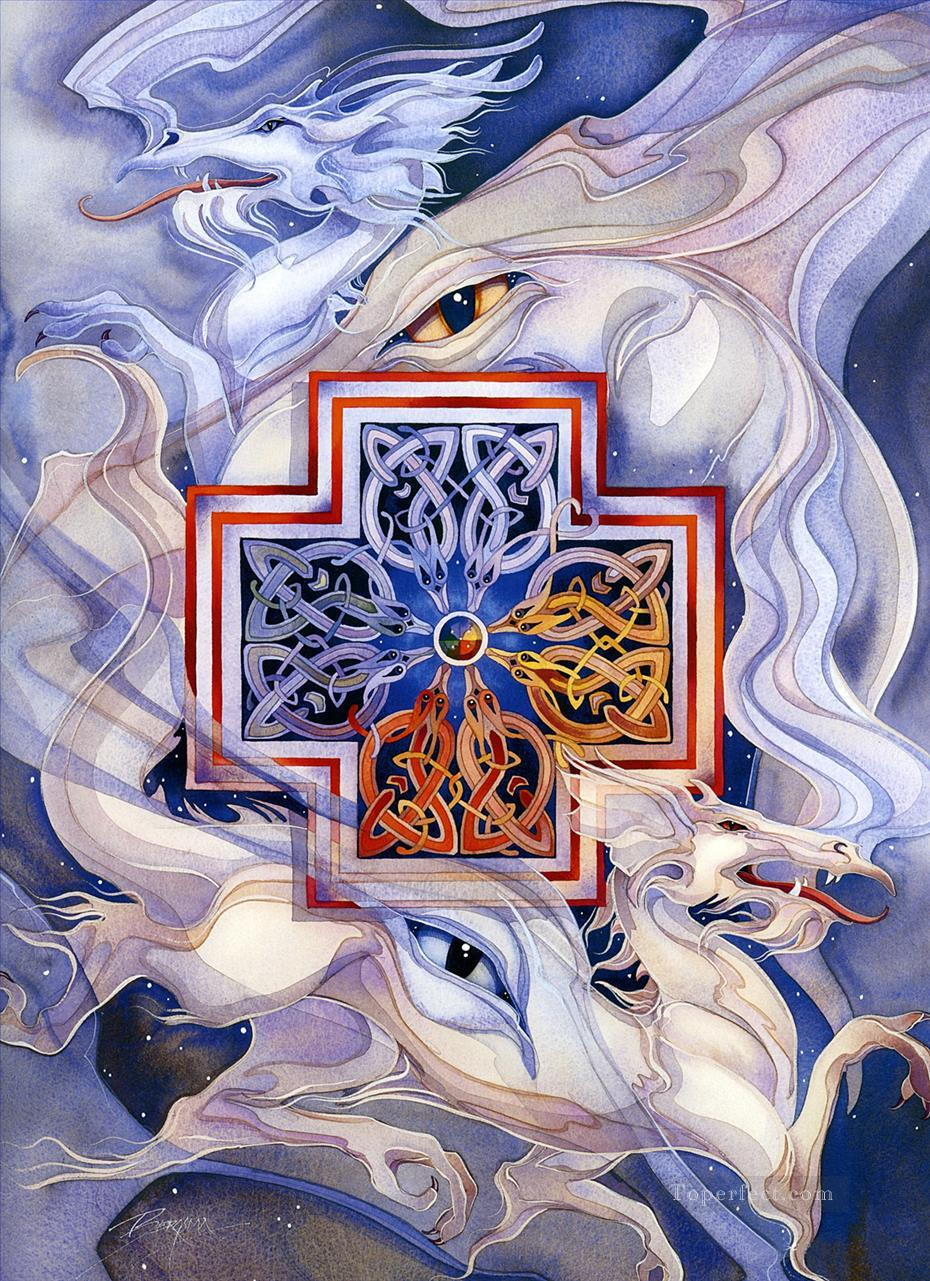 fantasy cross the dragon Oil Paintings