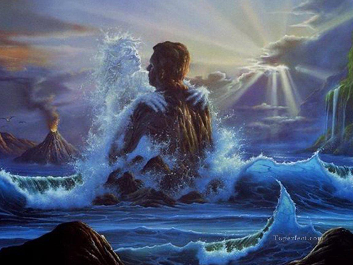 love of wave and rock fantasy painting in oil for sale